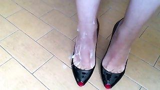 Cum on Louboutin High Heels and Wife Sexy Feet