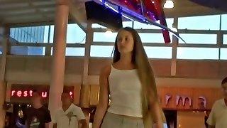 Perfect blonde teen amateur up miniskirt activity