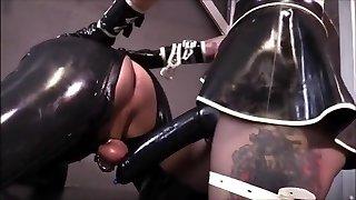 Hot mistress Latex strapon plumb slave
