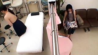 exotiska kinesiska dame i otroligt medicinsk, skolan jav scen