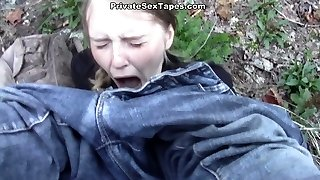 Dirty minded stud attacked fresh tight kitty right while camping in forest