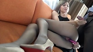 Wifey fucks her fellow in pantyhose and heels