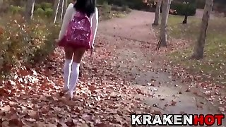 Hidden Cam video with young provocative schoolgirl outdoor