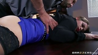 Bearded boss knows for sure how to entice and fuck edible assistant