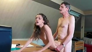 skinny young babe with old pervert
