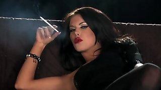 Brunette smoking + playing - HD