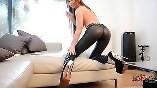 Female Domination: teasing leather pant & smoking: how long dy resist?