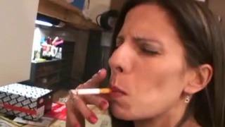 He licks her bum with smoking