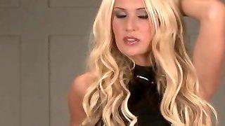 Lengthy legged blonde Alessandras latex fetish