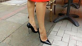 ambling n teasiing vo vysokých vysoké podpätky papuče