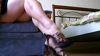 Demonstrating of sexy legs and feet