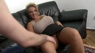 blonde milf with big natural tits bald pussy ravage