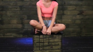 Brutal domination with teen strapped and ball-gagged