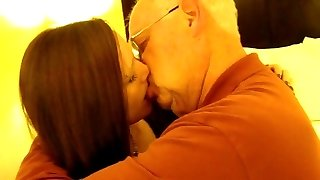 Hot Damsel kissing a 82 year old man