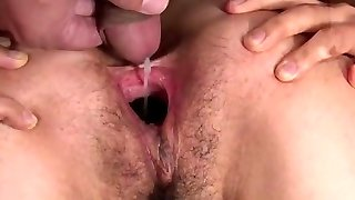 Crazy asian nymph sperm fill & cooter gape