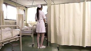 Two japanese nurses suck prick and swap jizm.