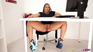 Lush English nympho Ashley Rider fumbles her meaty labia in the office