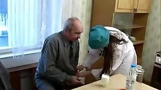 Super-cute Nurse Teen enticed by ugly Old Patient
