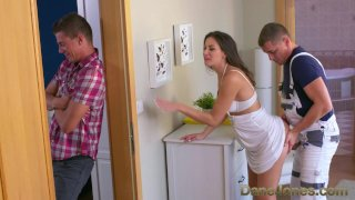 Dane Jones Cheating dark-haired wife is plumbed and creampied by plumber