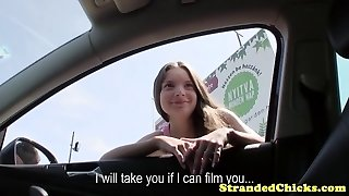 Hitchhiking puny hungarian receives drivers cum shot on her