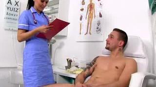 Physician patient handjob featuring skinny milf Nora