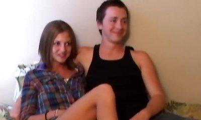 Retro teen couple three with old freak POV