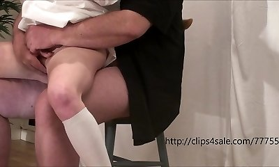 The young biotch gets fingered and fucked by an elder man
