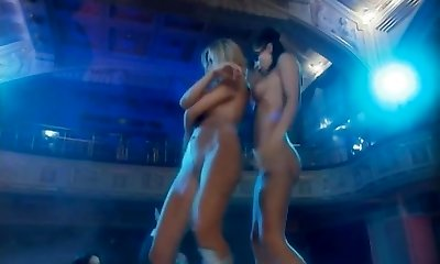 super hot sexy nude gogo nymphs dancing on the tables in a bar