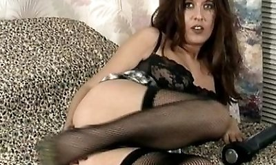 Vintage Milf in black underwear and pantyhose