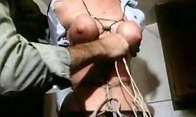 Strung up - vintage restrain bondage titties bound tight