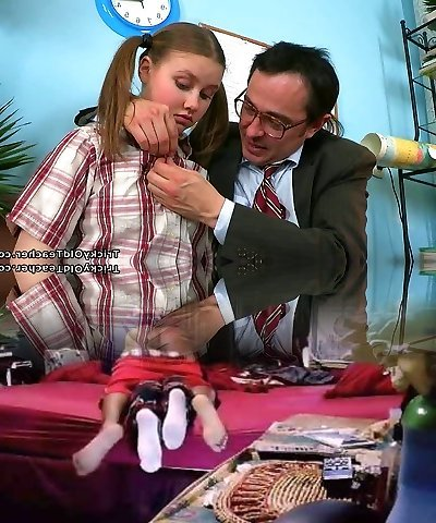 Horny aged schoolteacher gets lusty apology from his cute schoolgirl with pigtails