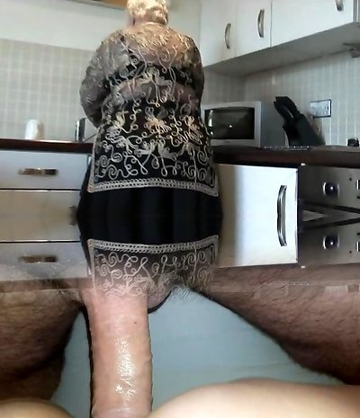 Sweet grandma displays hairy pussy big ass and her boobs