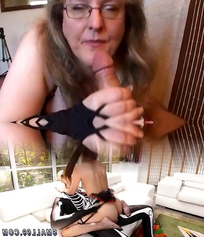 Busty fledgling wife handjob and blowjob