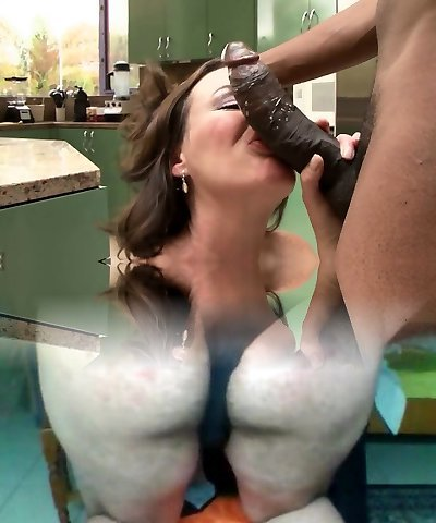 Black dick drills a hairy pussy