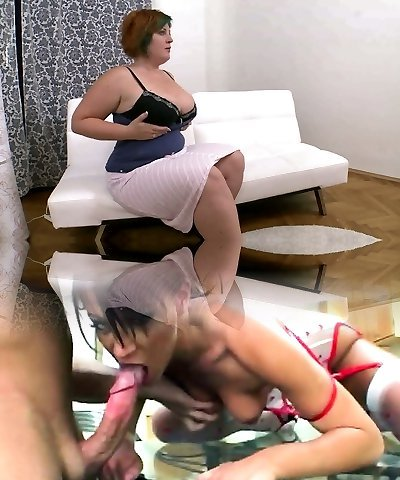 Bulky dark haired mature superslut gets her pinkish cunt eaten by insatiable banger
