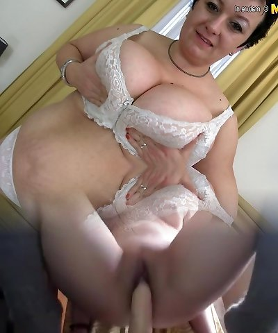 Chubby fledgling mother shows off large rack