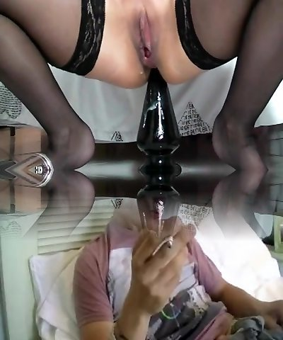 Busty mature penetrating enormous dildos