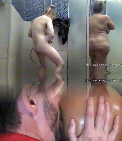 Nude women bathe in the shower 0037