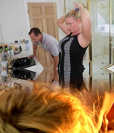 FamilyStrokes - Stepdaughter Boinks Step-Dad While Mom Showers
