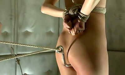 Suspended porn actress Marica Hase takes hook in her assfucking hole