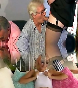 Teen with 2 old fellows and a mature crossdresser