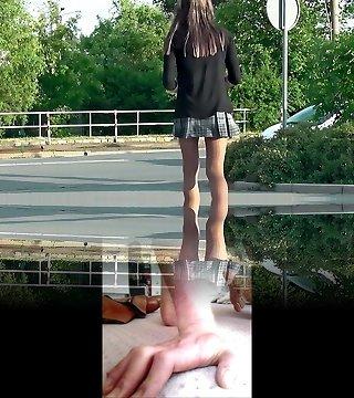Crossdresser She-male wears pantyhose and short skirt in public