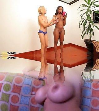 Molten ebony tranny Maria Fernanda and her Girlfriend are ready for shooting