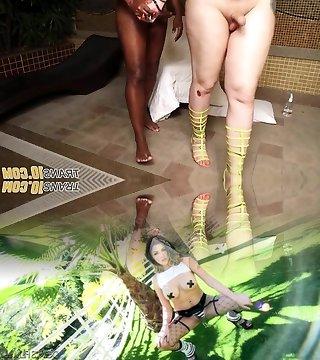 Curvy tgirl twerking before interracial sex