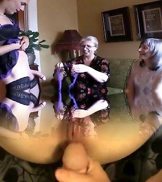 Two torrid grannies and ladyboy