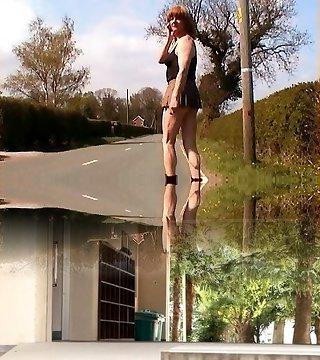 Zoe transvestite tramp exhibitionist whore in micro-miniskirt that can't stash her pretty fuckpole