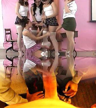 Five schoolgirls in sexy skirts lovin'