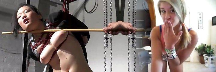 Japanese spanking in asian suspension bondage