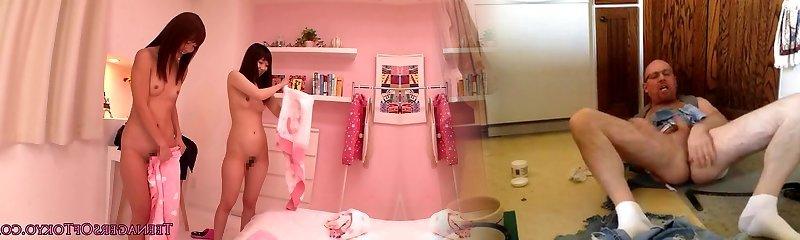 Tokyo teens scissoring at pyjama party