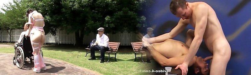 Subtitled weird Asian half naked caregiver outdoors